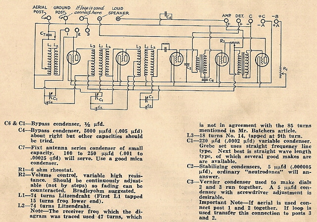Grebe Synchrophase. More Like Modern Schematics Note There Are A Few Errors Eg C1 Should Be C4 Two C1s Listed Etc Also The Values Differ From Measured Original. Wiring. 1920s Zenith Tube Radio Schematics At Scoala.co