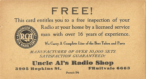 1920s Radios. The Photo Right Shows A Late1930s Uncle Al's Radio Shop Promotional Card Note That States Manufacturer Of Over 10000 Sets Satisfaction. Wiring. 1920s Zenith Tube Radio Schematics At Scoala.co